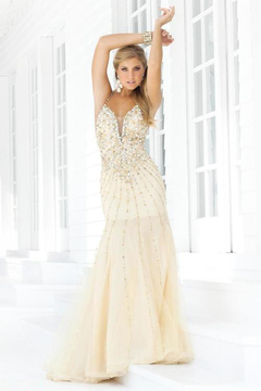 Blush Lingerie Sequined Trumpet Gown with Open Back 9325