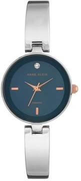 Anne Klein Diamond-Accented Navy Blue Dial Silvertone Bracelet Watch