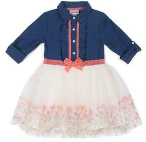 Little Lass Little Girl's Floral Chambray Dress