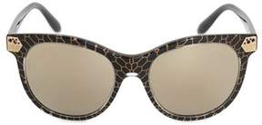 Bvlgari Cat Eye Sunglasses Bv8185b 54215a 55 | Black Acetate Frame | Gold Mirror Lenses.