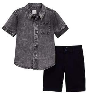 AG Jeans Acid Washed Denim Shirt & Shorts Set (Toddler Boys)