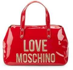 Love Moschino Logo Patent Faux Leather Top Handle Bag