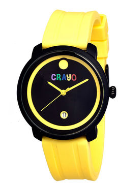 Crayo Unisex Fresh Yellow Rubber-Strap Watch With Date Cracr0306