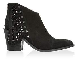 Fergie Womens Bennie Leather Cap Toe Ankle Cowboy Boots.