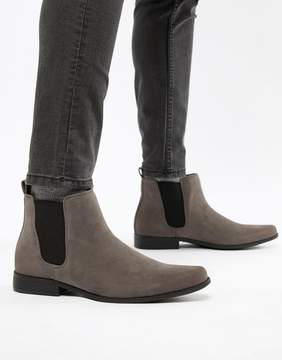 Asos Chelsea Boots in Gray Faux Suede