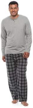 Chaps Big & Tall Solid Henley & Plaid Fleece Lounge Pants Set