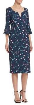 David Meister Floral Bell Sleeve Dress