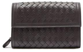 Bottega Veneta Intrecciato Continental Leather Wallet - Womens - Silver
