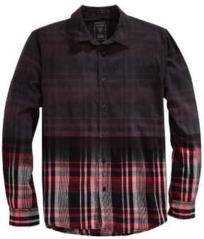 GUESS Joey Slim Fit Dip Dye Plaid Long Sleeve Shirt Black and Red