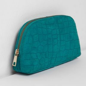 River Island Womens Turquoise blue croc suede make up bag