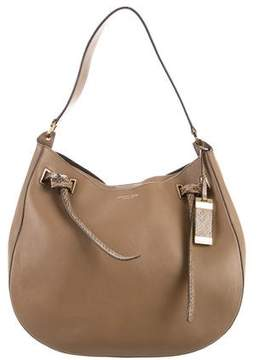 Michael Kors Snakeskin-Trimmed Leather Hobo - BROWN - STYLE