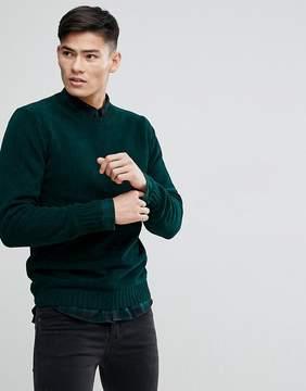 MANGO Man Chenille Sweater In Green