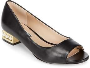 Karl Lagerfeld Paris Women's Patent Leather Peep Toe Heels