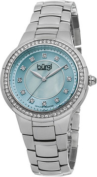 Burgi Silver-tone Steel Blue Mother of Pearl Diamond Dial Ladies Watch