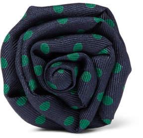 Charvet Flower Polka-Dot Silk-Faille Lapel Pin