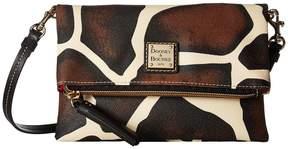 Dooney & Bourke Serengeti Fold-Over Zip Crossbody Cross Body Handbags - GIRAFFE/BLACK TRIM - STYLE