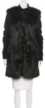 Rachel Zoe Faux Fur-Trimmed Wool Coat