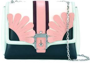 Paula Cademartori floral detail bag with silver tone shoulder chain