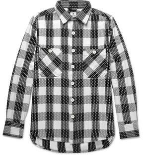 SASQUATCHfabrix. Sashiko-Stitched Checked Cotton Shirt