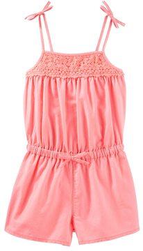 Osh Kosh Toddler Girl Orange Crochet Yoke Romper