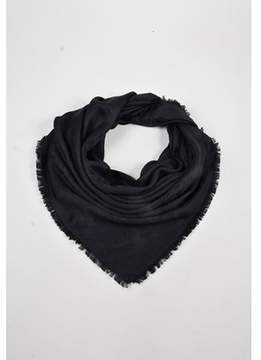 Louis Vuitton Pre-owned Black Wool & Silk Monogram Fringed Shawl Scarf.