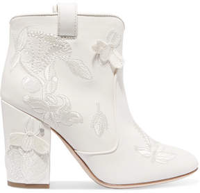 Laurence Dacade Pete Embroidered Leather Ankle Boots - Off-white