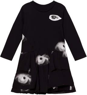 Nununu Black Layered Eye Print Dress