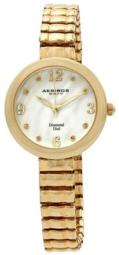 Akribos XXIV Mother Of Pearl Dial Yellow Gold-tone Ladies Watch