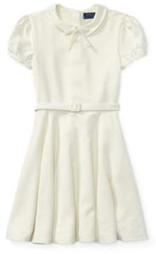 Ralph Lauren Belted Fit-And-Flare Dress Cream 7