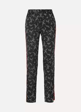 Equipment Florence Striped Printed Silk-satin Straight-leg Pants - Black