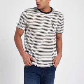 River Island Mens Cream slim fit stripe embroidered T-shirt