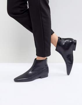 MANGO Leather Flat Pointed Toe Ankle Boot