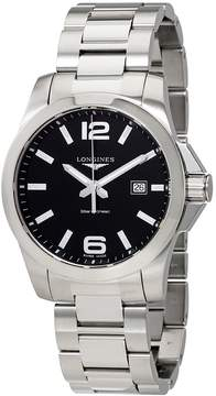 Longines Conquest Black Dial Men's Stainless Steel Watch