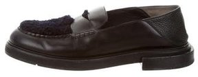 Fendi Shearling-Lined Penny Loafers