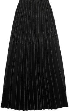 Alexander McQueen Metallic Embroidered Plissé-silk Tussah Maxi Skirt - Black