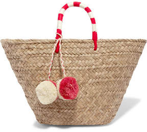 Kayu St Tropez Pompom-embellished Embroidered Woven Straw Tote - Beige