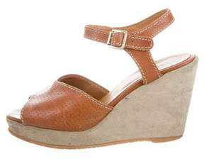A.P.C. Leather Ankle-Strap Wedges