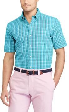 Chaps Big & Tall Classic-Fit Checked Stretch Poplin Button-Down Shirt
