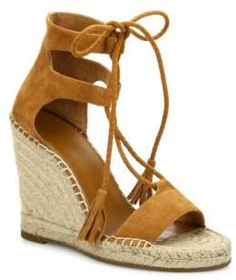 Joie Delilah Lace-Up Suede Espadrille Wedge Sandals