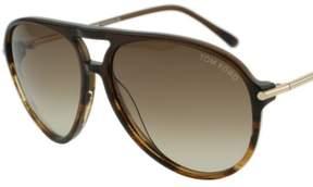 Tom Ford Matteo FT0254 50F Brown Tortoise Acetate Aviator Sunglasses 59mm