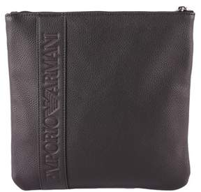 Emporio Armani Men's Black Polyurethane Messenger Bag.