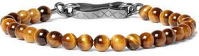 Bottega Veneta Tiger's Eye Bead And Oxidised Silver Bracelet