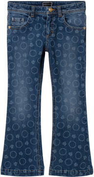 Versace Blue Bolli All Over Print Denim Flare Jeans