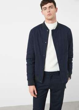 Mango Outlet Pinstripe bomber jacket