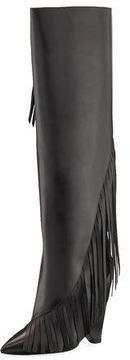 Saint Laurent Niki Diagonal-Fringe Knee Boot
