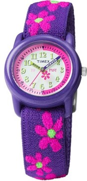Timex Girls Time Machines Purple Floral Watch, Elastic Fabric Strap