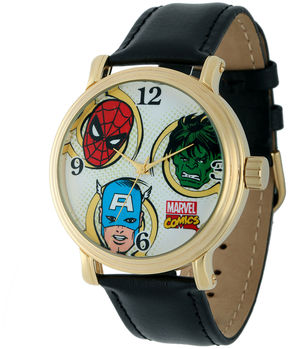 Marvel Vintage Avengers Mens Black Leather Strap Watch