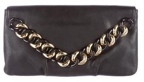 Michael Kors Leather Envelope Clutch - BLACK - STYLE