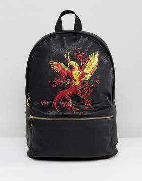 Asos Backpack In Faux Leather With Embroidered Bird Design