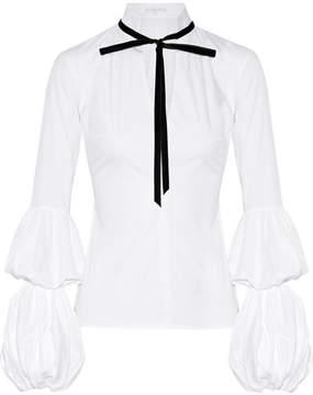 Caroline Constas Yasmin Velvet-trimmed Cotton-blend Poplin Blouse - White
